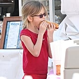 Violet Affleck took a break to eat a hot dog.