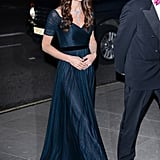 The Duchess Paired a Sparkling Necklace and Deep-Blue Jenny Packham Gown For the Portrait Gala This Past February