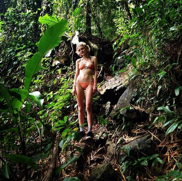 Jessica Stam trekked through the jungle to find a secret swim spot. Source: Instagram user jess_stam