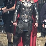 Chris Hemsworth on the set of Thor: The Dark World.