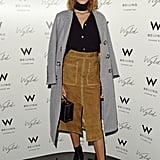 Showing off her '70s vibes, Alexa was one of the first to wear the must-have suede skirt from Marks & Spencer back in February 2015.