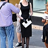 Anne Hathaway filming The Dark Knight Rises.