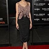 Carey Mulligan, the portrait of a lady in Nina Ricci, at the NYC premiere of Wall Street: Money Never Sleeps.