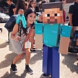 Meanwhile, @itsnicolenguyen made friends with #Minecraft kid. @popsugarmoms: this is the easiest DIY costume ever! The headpiece is $20 at @target.