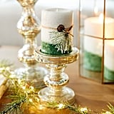 Large Holiday Forest Layered Pillar Candle
