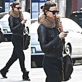 There isn't one thing we don't want from Irina Shayk's off-duty outfit, but we've got to say: that fur collar kind of takes the cake.