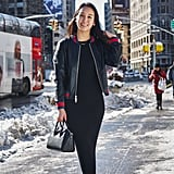 On Assistant Editor Marina Liao: Aritzia bomber, The Group by Babaton knit dress, Givenchy bag, and Zara flats
