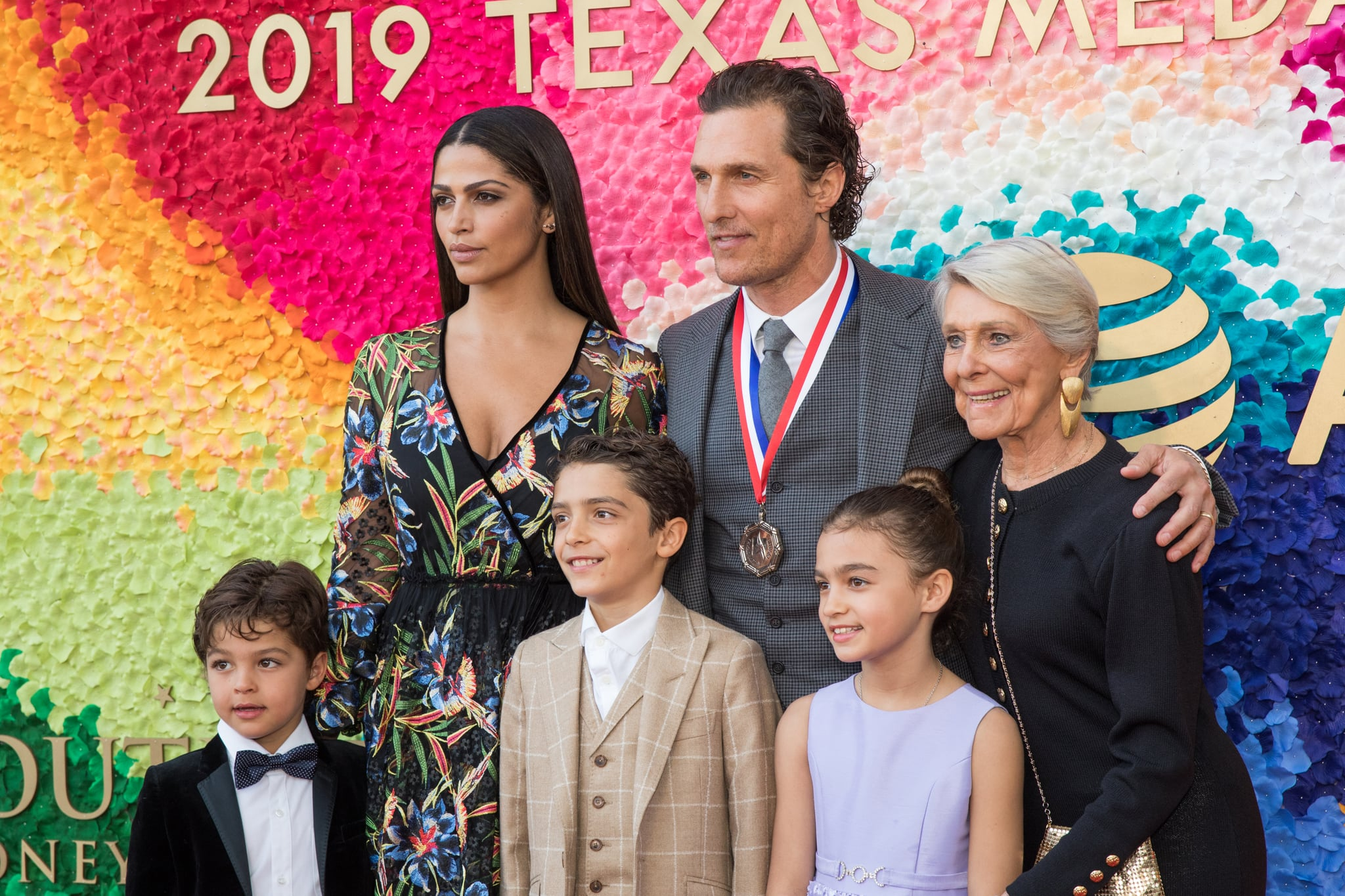 AUSTIN, TEXAS - FEBRUARY 27: (L-R) Livingston Alves McConaughey, Camila Alves, Levi Alves McConaughey, honouree Matthew McConaughey, Vida Alves McConaughey, and Kay McConaughey attend the 2019 Texas Medal Of Arts Awards at the Long Centre for the Performing Arts on February 27, 2019 in Austin, Texas. (Photo by Rick Kern/WireImage)