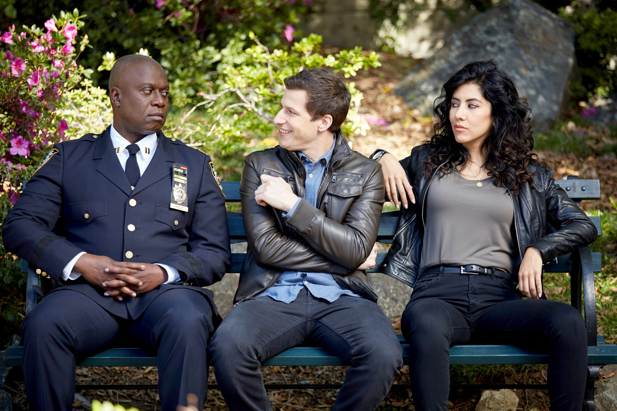 BROOKLYN NINE-NINE, l-r:  Andre Braugher, Andy Samberg, Stephanie Beatriz in 'The Bureau' (Season 3, Episode 22, aired April 12, 2016). ph: John P. Fleenor/Fox/courtesy Everett Collection