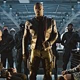 Dwayne Johnson, Idris Elba, and Jason Statham in Hobbs and Shaw.