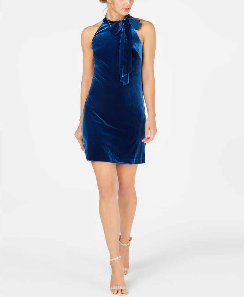 Vince Camuto Tie-Neck Velvet Sheath Dress