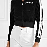 Palm Angels Cropped Striped Chenille Hoodie
