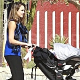 Jessica Alba shaded Haven Warren in a car seat in Mexico.