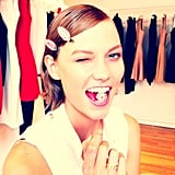 Model Karlie Kloss wasn't quite ready yet, but at least she had minty fresh breath once she arrived.  Source: Instagram user thecoveteur