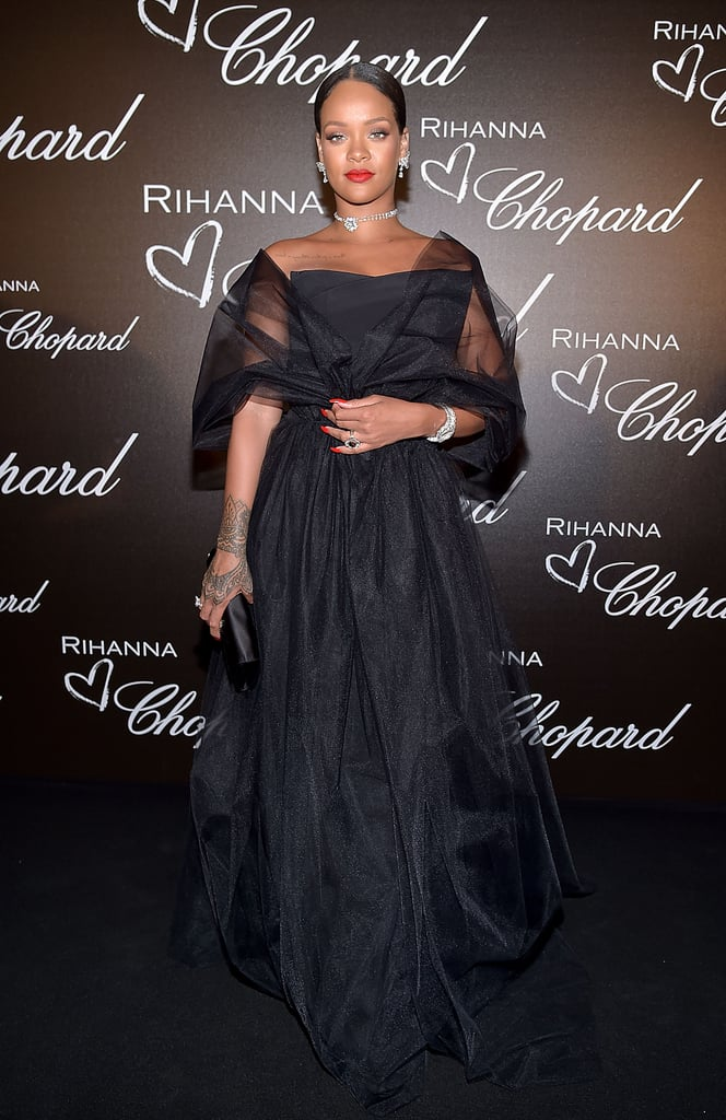 In 2017, Rihanna wore a black tulle gown and Giuseppe Zanotti heels and carried a Roger Vivier clutch.