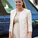 Kate Middleton wore a Jenny Packham coat and dress.