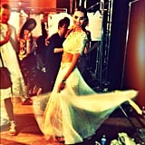 Hilary Rhoda did a spin while backstage at Marchesa. Source: Instagram user hilaryhrhoda