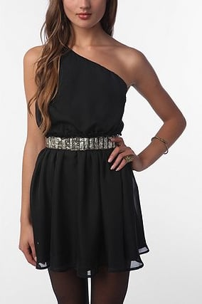 Add interest to this essential LBD just like this with a great sparkly belt.  Lucca Couture Chiffon One-Shoulder Dress ($59)
