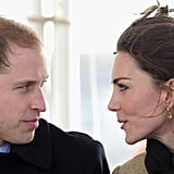 Kate has worn the earrings for many years — seen here on a visit to Anglesey before she was married.