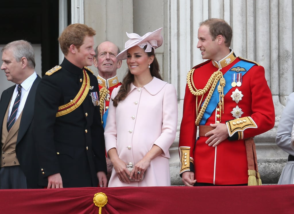 Prince Harry, Kate Middleton (in her last official appearance before bub) and Prince William attended the Trooping The Colour parade at Buckingham Palace on June 15.