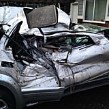 Barrett's totaled SUV.