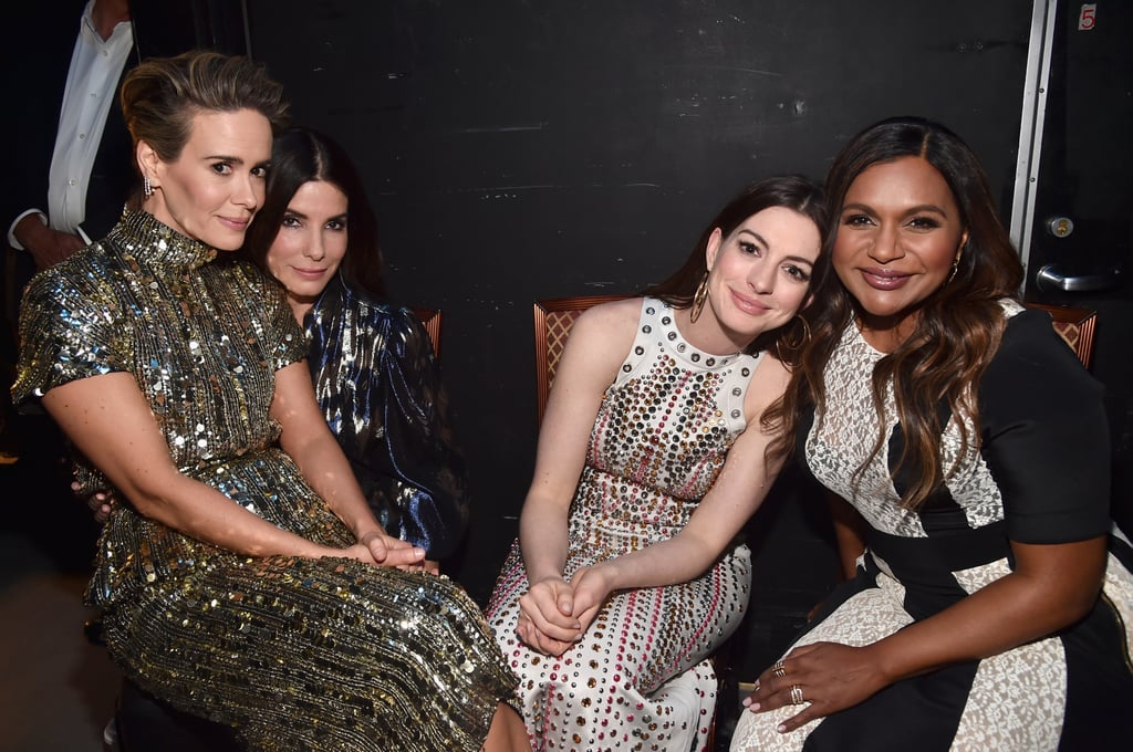 Sandra Bullock, Anne Hathaway, Mindy Kaling, Sarah Paulson, Cate Blanchett, and Awkwafina all made strikingly gorgeous appearances at CinemaCon in Las Vegas on Tuesday night. The actresses were on hand to promote their upcoming Ocean's 8 film and left us at a loss for words when they hit the red carpet together.  The highly anticipated film doesn't hit theaters until June 8, but we can already tell it's going to be good. Not only does it also feature Rihanna and Helena Bonham Carter, but it follows an all-female cast of thieves who attempt to pull off the ultimate heist at New York City's annual Met Gala. The real Met Gala actually goes down on May 7 at the Metropolitan Museum of Art in NYC.      Related:                                                                                                           Ocean's 8 Looks Like a Wild Ride — Get to Know Debbie Ocean's Whole Gang