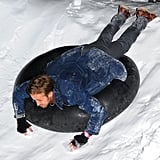 Ryan soaked up the snow while tubing during the Blue Valentine party at the Sundance Film Festival in 2010.