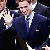 Prince William gave a wave at Bangor train station in June 2003.
