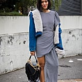 Style an Asymmetrical Dress With a Shearling-Lined Denim Jacket