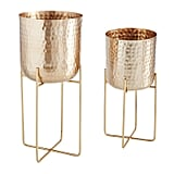 Golden Planter With Stand