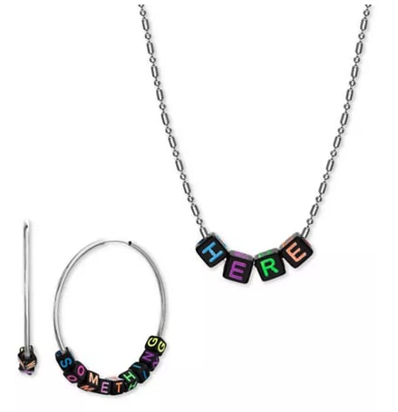 Silver-Tone Interchangeable Lettering Bead Collar Necklace & Hoop Earring Gift Set
