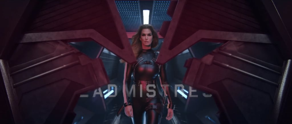 Make way for this legend — Cindy Crawford — in a leather bodysuit.