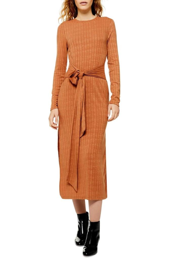 Topshop Tie-Waist Long Sleeve Knit Midi Dress