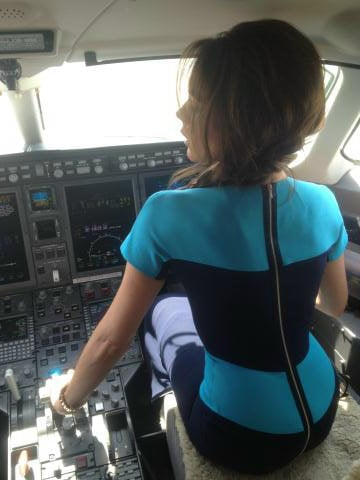 Victoria Beckham tweeted a photo of herself in the cockpit of the private plane she took to Vancouver. Source: Twitter user Victoria Beckham