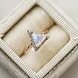 Rose Gold and Moonstone Diamond Triangle Ring