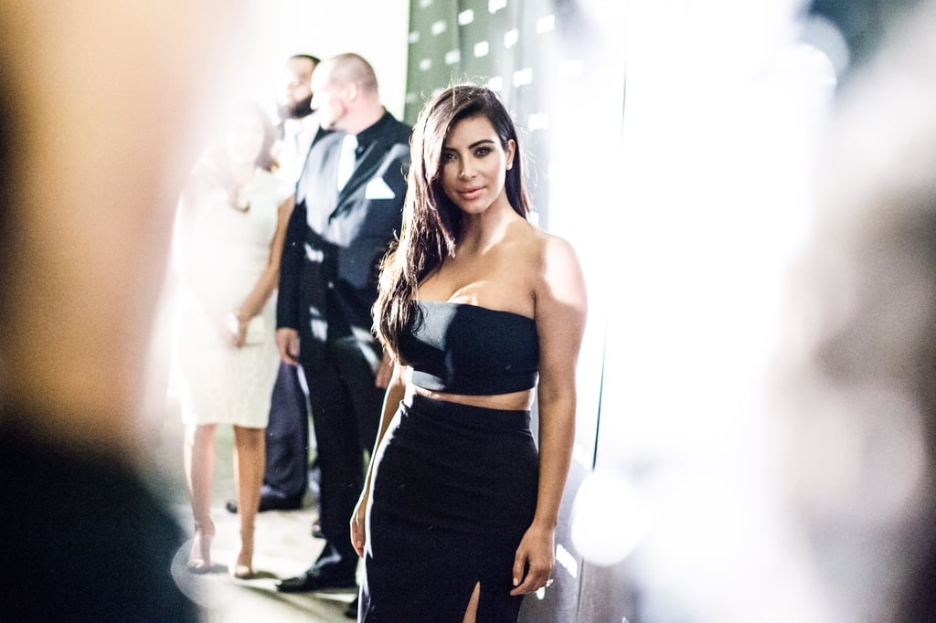 Kim Kardashian Wearing a Crop Top at Paper Magazine Party