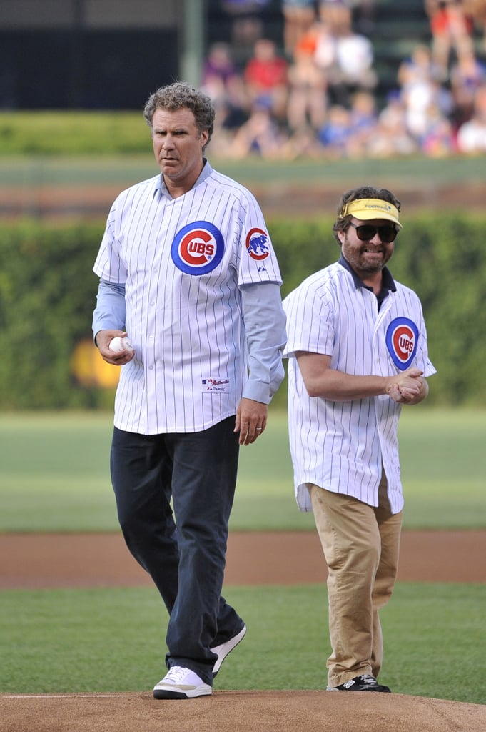 Zach Galifianakis and Will Ferrell teamed up for the first pitch at a Chicago Cubs game in July 2012.