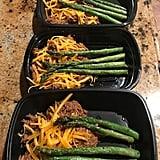 Pulled pork with cheddar and sautéed asparagus