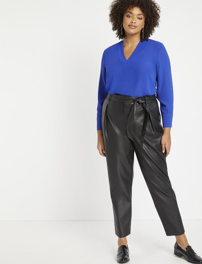 ELOQUII Pleat Front Faux Leather Ankle Pant