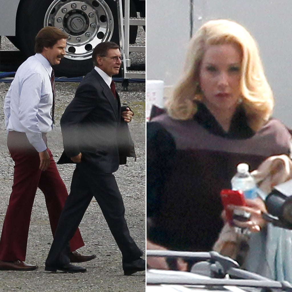 See Harrison Ford and Will Ferrell on the Set of Anchorman 2
