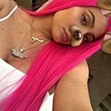 Kylie Jenner Hot Pink Hair Coachella 2018