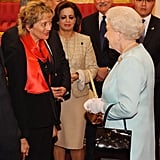The queen met with President of Switzerland Eveline Widmer-Schlumpf during the Buckingham Palace reception.