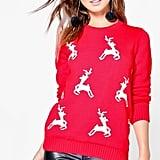 Boohoo Petite Gemma Reindeer Christmas Jumper