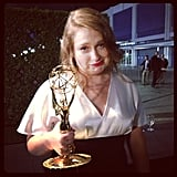Merritt Wever struck a pose with her new Emmy. Source: Instagram user lenadunham