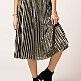 Azalea Pleated Metallic Skirt
