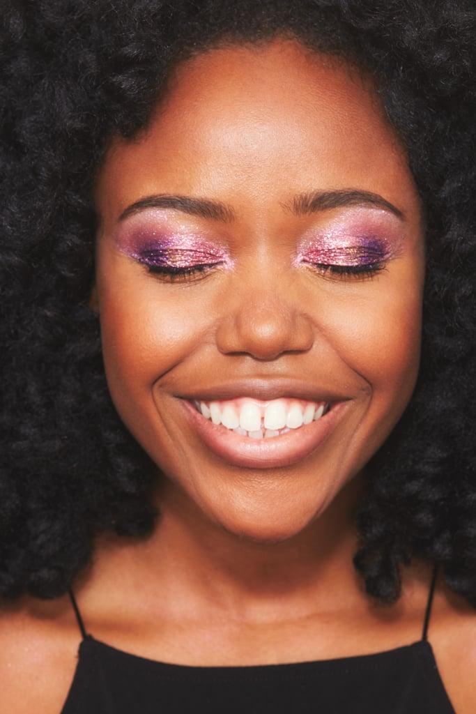 Glitter Strobing on Eyes: Deep Skin Tone