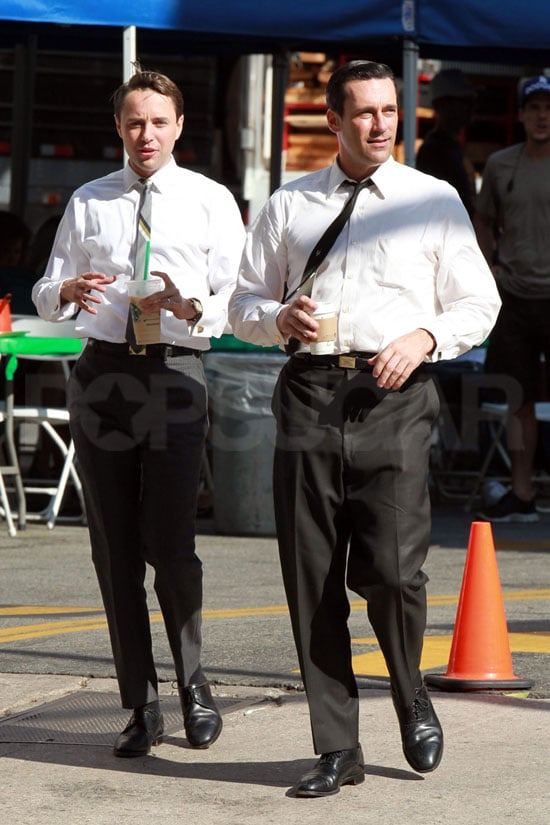 Jon Hamm and Vincent Kartheiser filming Mad Men.