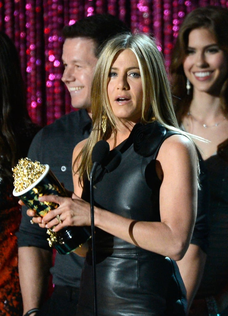 Jennifer Aniston Wins Best Dirtbag Popcorn in Sexy Dress at MTV Movie Awards