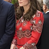 A newer addition to Kate's wardrobe is the Russell and Bromley 'Curvy' — seen here at her arrival to India in 2016.