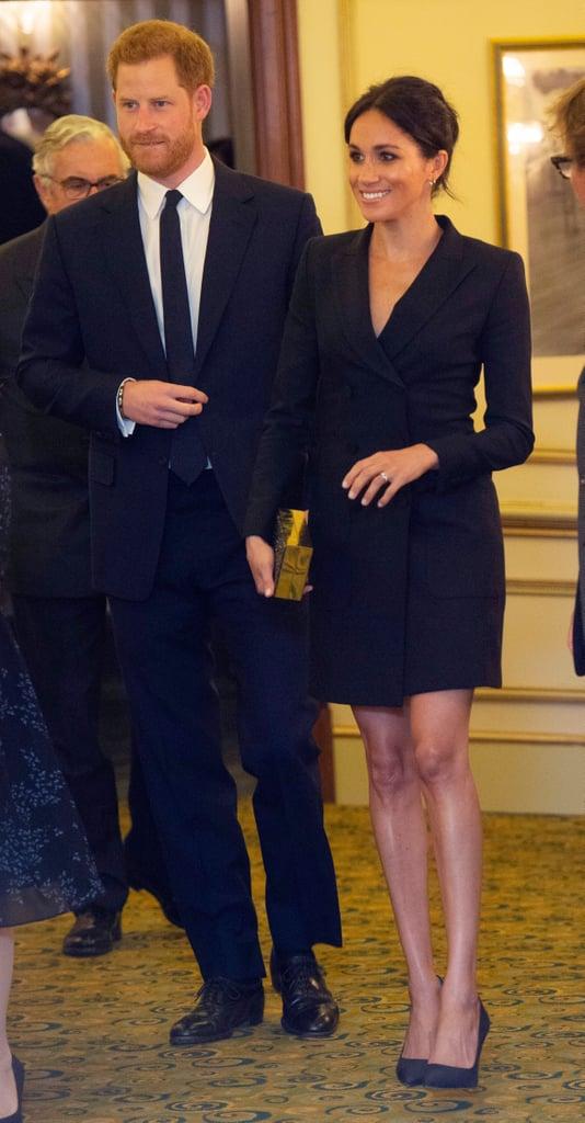 Meghan Markle Black Tuxedo Mini Dress Aug. 2018